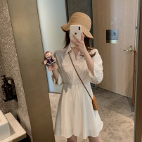 Dress Summer 2021 Temperament white S,M,L Short skirt singleton  Long sleeves commute Polo collar High waist Solid color A-line skirt routine Others Type A Korean version Button 30% and below other other