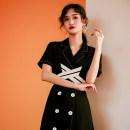Dress Summer 2020 Black short sleeve S,M,L,XL,2XL Miniskirt singleton  commute tailored collar Others Type X Other / other