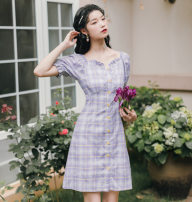 Dress Summer 2020 violet S,M,L Miniskirt singleton  Short sleeve commute V-neck High waist lattice Single breasted A-line skirt puff sleeve Others Other / other