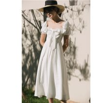 Dress Summer of 2019 white XS,S,M longuette singleton  Short sleeve commute square neck High waist Solid color Big swing puff sleeve Others 18-24 years old Type X Other / other Retro bow 1573# 30% and below nylon