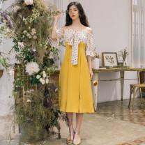 Dress Summer of 2019 Ginger  S,M,L Miniskirt Sweet One word collar High waist A-line skirt Other / other bow 9092-1
