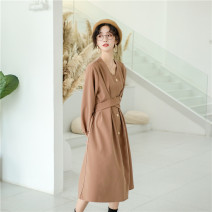 Dress Autumn of 2019 Dry orange Average size Middle-skirt Long sleeves High waist bishop sleeve Type X Other / other 2233#