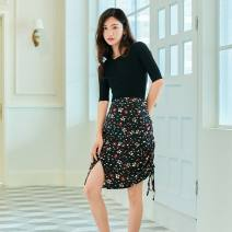 skirt Summer of 2019 S,M,L black Short skirt commute High waist other Decor 18-24 years old 30% and below other Other / other polyester fiber Simplicity