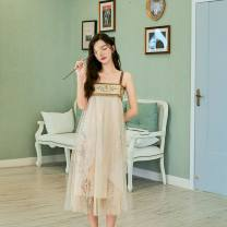 Dress Summer of 2019 Light brown S,M,L Miniskirt singleton  Sleeveless Sweet One word collar middle-waisted other Princess Dress other camisole 18-24 years old Type A Other / other 2360# princess