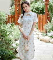 cheongsam Summer 2020 S,M,L Short sleeve Single cheongsam Retro Low slit daily 18-25 years old Nail bead 8315# cotton 96% and above