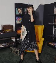 Dress Summer of 2019 black S,M,L Miniskirt Short sleeve square neck High waist Single breasted Ruffle Skirt Type H