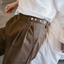 Casual pants CHICERRO Youth fashion Black, brown, brown thickening, black thickening S,M,L,XL routine Ninth pants Other leisure Straight cylinder Micro bomb Four seasons teenagers tide 2018 Medium low back Little feet Tapered pants Metal decoration No iron treatment Solid color Khaki Fashion brand