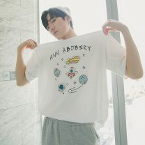 T-shirt Youth fashion White, light blue routine S,M,L,XL CHICERRO Short sleeve Crew neck easy Other leisure spring teenagers routine tide 2021 Cartoon animation printing Creative interest No iron treatment