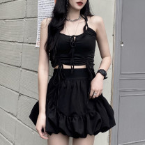 Vest sling Summer 2021 Suspender, skirt S,M,L Two piece set have cash less than that is registered in the accounts Self cultivation commute Hanging neck style Solid color 18-24 years old 96% and above polyester fiber