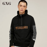 Jacket GXG Youth fashion black routine Self cultivation Other leisure autumn Polyester 100% Long sleeves Hood routine Closing sleeve other Woollen cloth Fall 2017 Same model in shopping mall (sold online and offline)