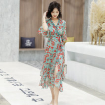 Dress Summer 2021 Green pollen M L XL XXL Mid length dress singleton  Long sleeves commute middle-waisted Socket routine 25-29 years old Aylie Korean version A88810 More than 95% polyester fiber Polyester 100%
