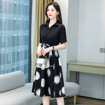 Dress Summer 2021 Black and white M L XL XXL Mid length dress Two piece set Short sleeve commute Polo collar middle-waisted Dot Socket A-line skirt routine 25-29 years old Aylie Korean version Frenulum A89612 More than 95% polyester fiber Polyester 100%