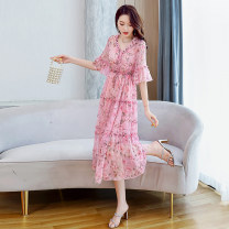 Dress Summer 2021 Pink purple red M L XL XXL Mid length dress Two piece set Short sleeve commute V-neck middle-waisted Decor Socket A-line skirt pagoda sleeve 25-29 years old Aylie Korean version printing More than 95% Chiffon polyester fiber Polyester 100%