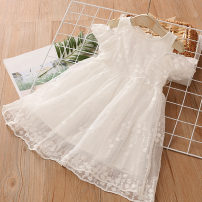 Dress white female Shell element 100cm,110cm,120cm,130cm,140cm,150cm Other 100% summer princess Short sleeve other other other qz5222 Class B 14, 13, 12, 11, 10, 9, 8, 7, 6, 5, 4, 3, 2 years old
