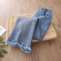 trousers Shell element female 100cm,110cm,120cm,130cm,140cm,150cm Denim blue spring and autumn trousers Korean version No model Jeans Leather belt middle-waisted Denim Don't open the crotch kzb499 Class B 2, 3, 4, 5, 6, 7, 8, 9, 10, 11, 12, 13, 14 years old