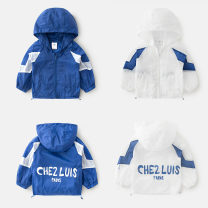 Plain coat Shell element male summer Europe and America The cap is not detachable No model in real shooting other other wta098 Class B 2, 3, 4, 5, 6, 7, 8, 9, 10, 11, 12, 13, 14 Dark blue, white 90cm,100cm,110cm,120cm,130cm,140cm,150cm