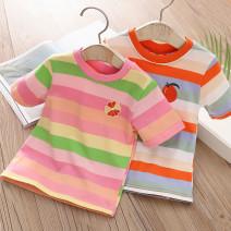 T-shirt Orange, orange, pink, flower Shell element 90cm,100cm,110cm,120cm,130cm,140cm female summer Short sleeve fresh No model other other Other 100% txb551 Class B