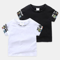 T-shirt Black, white Shell element 150cm,140cm,130cm,120cm,110cm,100cm male summer Short sleeve Crew neck Europe and America No model nothing other other txa186 Class B 14, 13, 12, 11, 10, 9, 8, 7, 6, 5, 4, 3, 2 years old
