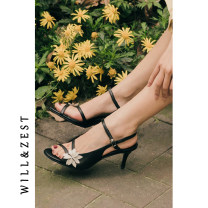 Sandals 34,35,36,37,38,39 Black, 50 yuan special coupon for details Sheepskin (except cashmere / cashmere) will&zest Barefoot Fine heel High heel (5-8cm) Summer 2021 Flat buckle Retro Solid color Youth (18-40 years old), general TPR (tendon) daily Bag heel Lateral space Pig skin Sheepskin peep-toe