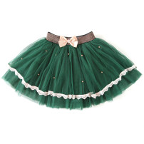 skirt 110, 120, 130, 140, 150 Black, pink, green, dark blue Kiss Ni ya female Polyester 100% No season skirt leisure time Solid color Cake skirt blending Class C