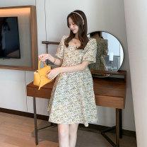 Dress Miss Leila Yellow, blue M,L,XL Korean version Short sleeve Medium length summer square neck Decor 414-6340