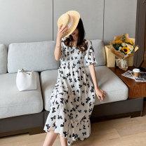 Dress Miss Leila White short, black short, white long, black long M,L,XL,XXL Korean version Short sleeve Medium length summer square neck Decor 421-6383