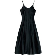 Dress Summer of 2019 black S,M,L,XL singleton  Sleeveless commute V-neck High waist Solid color Socket A-line skirt camisole Type X lady 71% (inclusive) - 80% (inclusive) other other