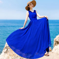 Dress Summer 2021 blue S,M,L,XL,2XL,3XL longuette singleton  Sleeveless Sweet V-neck middle-waisted Solid color zipper Big swing straps 40-49 years old Type X Dream of butterfly Princess Pleats, zippers LQYY3 81% (inclusive) - 90% (inclusive) Chiffon polyester fiber Bohemia