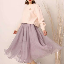 skirt Winter 2020 XS,S,M,L,XL Light purple, pink Mid length dress dream Natural waist Pleated skirt Solid color Type A 30-34 years old 51% (inclusive) - 70% (inclusive) other O'amash banner Wave, net, lace