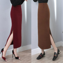 skirt Winter of 2019 S,M,L,XL,2XL Black, red, caramel commute High waist Solid color Type H H9666 91% (inclusive) - 95% (inclusive) Wool other