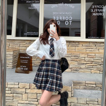 Women's large Spring 2021 Skirt, top Large, 3XL, 4XL, large Other oversize styles Two piece set commute Self cultivation moderate Cardigan Long sleeves Korean version Polo collar routine Three dimensional cutting routine S5965+B5962 Mr. Zhang 25-29 years old Button Short skirt other