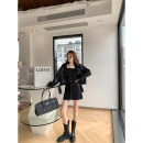 Women's large Winter 2020 Leather dress Large, 3XL, 4XL, large Other oversize styles singleton  commute easy moderate Cardigan Long sleeves Korean version routine other W5158+L5156 Mr. Zhang 25-29 years old Medium length