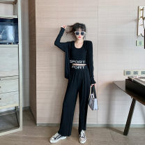 Women's large Spring 2021 Picture color Large, 3XL, 4XL, large Other oversize styles Three piece set commute easy moderate Cardigan Long sleeves letter Korean version Crew neck routine Three dimensional cutting routine T3889 Mr. Zhang 25-29 years old trousers