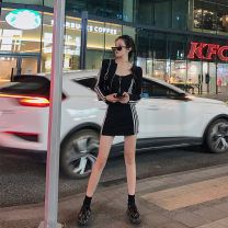 Women's large Spring 2021 black Large, 3XL, 4XL, large Other oversize styles Two piece set commute Self cultivation moderate Cardigan Long sleeves Korean version Crew neck Three dimensional cutting routine T3988 Mr. Zhang 25-29 years old Medium length zipper