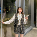 Women's large Spring 2021 Large, 3XL, 4XL, large Other oversize styles Three piece set commute Self cultivation moderate Cardigan Long sleeves lattice Korean version other routine Three dimensional cutting routine Mr. Zhang 25-29 years old Bandage shorts