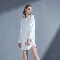 Nightdress Other / other White, black Average size sexy Long sleeves Leisure home Short skirt summer Solid color youth Shirt collar viscose  Button decoration 81% (inclusive) - 95% (inclusive) Modal fabric 200g and below