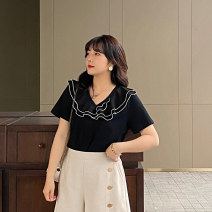Women's large Summer 2021 Black (4.13 shipment) black spot L XL 2XL 3XL 4XL 5XL T-shirt singleton  commute easy moderate Socket Short sleeve Solid color Korean version Lotus leaf collar routine Cotton others Three dimensional cutting routine Z1060 Caidoble / caidoble · CAI 25-29 years old
