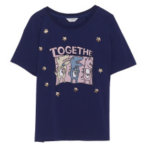Women's large Summer 2021 L XL 2XL 3XL 4XL 5XL T-shirt singleton  Sweet easy moderate Socket Short sleeve Cartoon letters Crew neck routine Cotton others Three dimensional cutting Caidoble / caidoble · CAI 25-29 years old Embroidery Cotton 94% polyurethane elastic fiber (spandex) 6% solar system