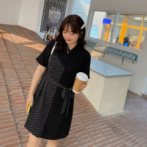 Women's large Summer 2021 Black black pre sale L XL 2XL 3XL 4XL 5XL Dress singleton  commute Self cultivation moderate Conjoined Short sleeve shape Korean version other polyester Three dimensional cutting puff sleeve Q3025N Caidoble / caidoble · CAI 25-29 years old Button 96% and above Middle-skirt