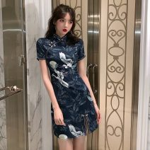Dress Summer 2020 Picture color XS,S,M,L,XL Short skirt singleton  Short sleeve commute stand collar High waist Socket One pace skirt routine 18-24 years old Type A Retro printing