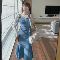 Dress Winter 2020 3228 ᦇ white base coat, blue dress S. M, average size Mid length dress singleton  Sleeveless commute Solid color Socket camisole 18-24 years old Korean version 3251# 31% (inclusive) - 50% (inclusive) other
