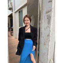 skirt Summer 2021 Average size Blue skirt 7663, black suit 693, black vest 687 Mid length dress Versatile High waist skirt Solid color 18-24 years old 51% (inclusive) - 70% (inclusive) knitting
