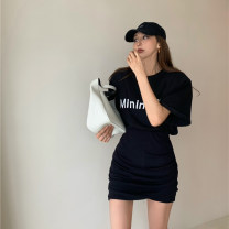 skirt Fold, asymmetric 51% (inclusive) - 70% (inclusive) other Summer 2021 Short skirt High waist Irregular commute Solid color 18-24 years old Type O other Korean version One size fits all, s, m, l Skirt, top