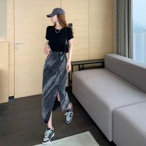 skirt Summer 2021 S,M,L,XL black Mid length dress commute High waist A-line skirt Abstract pattern Type H 18-24 years old 81% (inclusive) - 90% (inclusive) other other Korean version