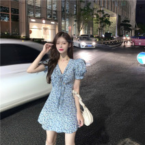 Dress Spring 2021 Graph color Average size Short skirt singleton  Short sleeve commute High waist Broken flowers puff sleeve 18-24 years old Type A Korean version 31% (inclusive) - 50% (inclusive) other