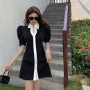 Dress Summer 2021 black M, S Short skirt singleton  Short sleeve commute V-neck High waist Solid color Socket One pace skirt puff sleeve 18-24 years old Type A court 31% (inclusive) - 50% (inclusive) other other