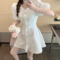 Dress Summer 2021 White, pink Average size Short skirt singleton  Short sleeve commute V-neck High waist Single breasted puff sleeve 18-24 years old Korean version 71% (inclusive) - 80% (inclusive) other