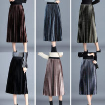 skirt Autumn of 2018 Average size Dark brown, dark blue, green, black, blue, brown, dark brown with mesh, dark blue with mesh, green with mesh, black with mesh, brown with mesh, blue with mesh Mid length dress commute High waist A-line skirt Solid color Type A 25-29 years old 269# other Other / other