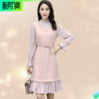 Dress Spring 2020 Pink M,XL,L,XXL Mid length dress Fake two pieces Long sleeves commute stand collar Elastic waist Solid color Socket Princess Dress routine Siluyi language Ol style SLYY9A03 31% (inclusive) - 50% (inclusive) Lace