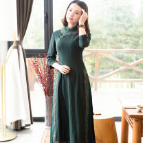 National costume / stage costume Spring of 2019 9125 dark green S M L XL XXL XXXL R18F9125 Ruyifeng Viscose 55.2% flax 44.8% Pure e-commerce (online only)